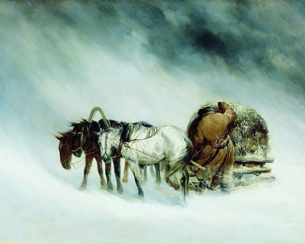 Steppe in snowstorm
